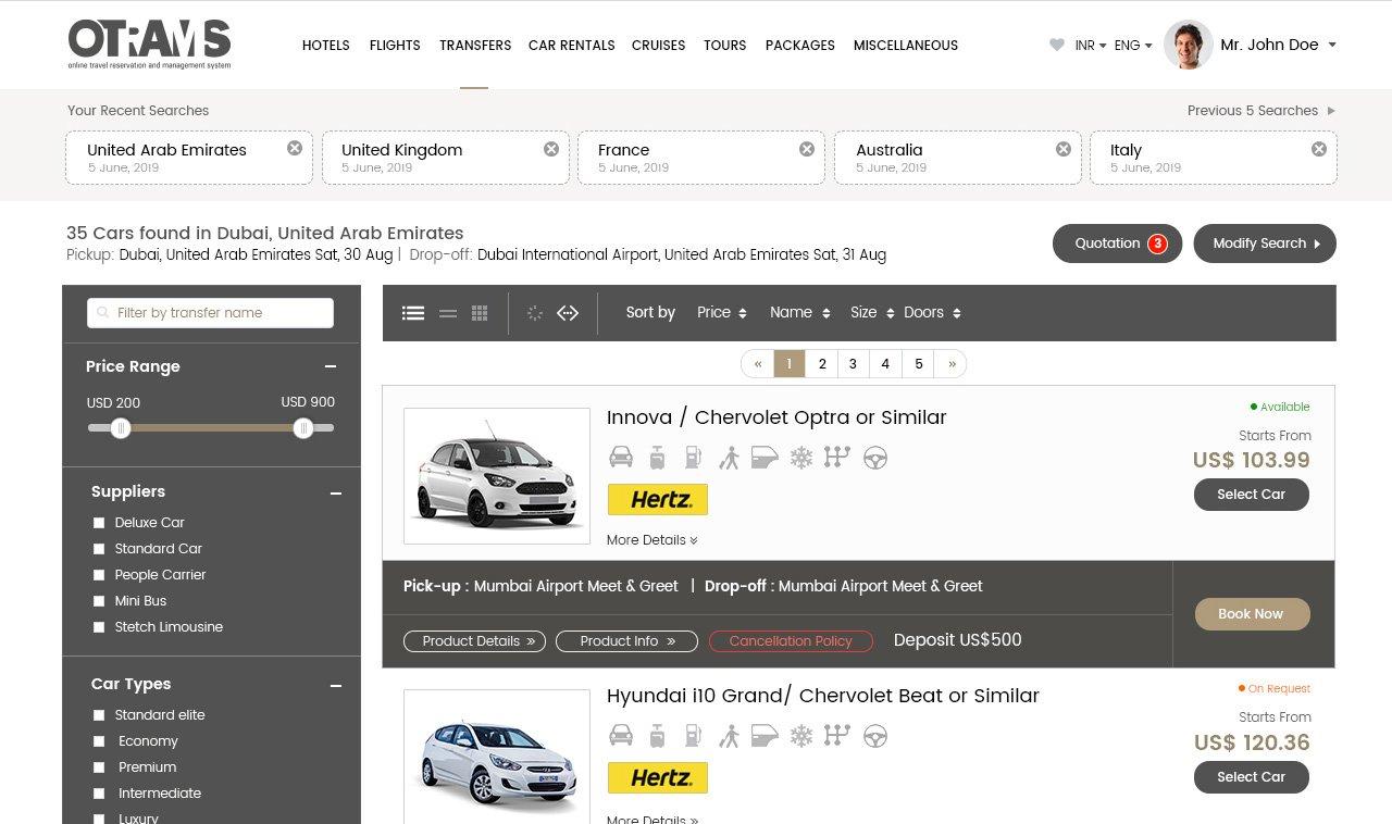 OTRAMS car reservation system, online car reservation system